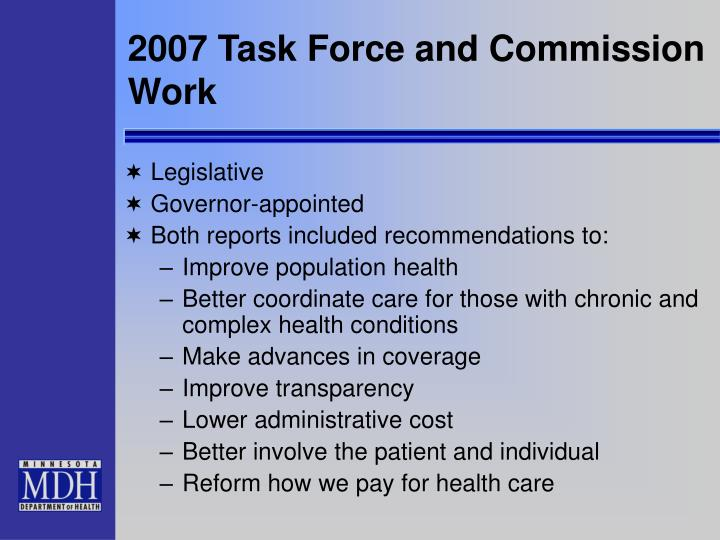 2007 Task Force and Commission Work