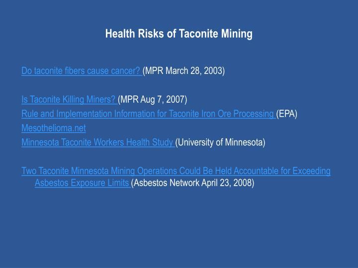 Health Risks of Taconite Mining