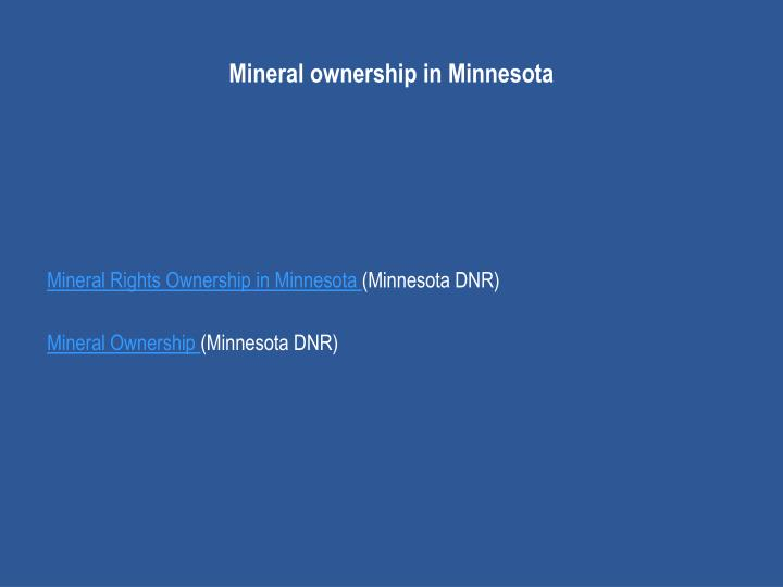 Mineral ownership in Minnesota