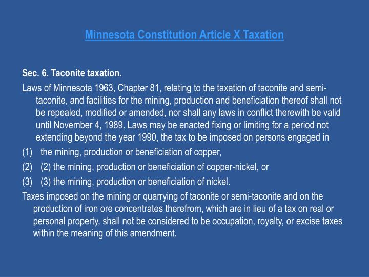 Minnesota Constitution Article X Taxation
