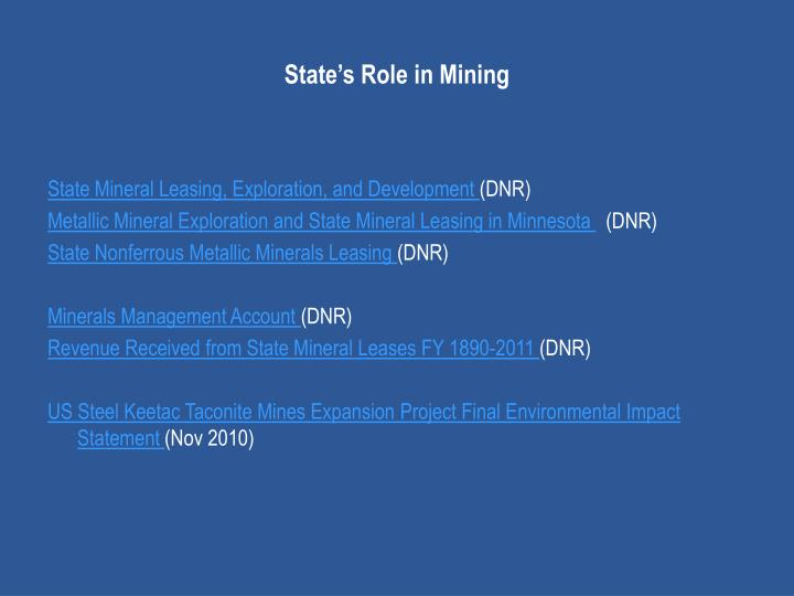 State's Role in Mining