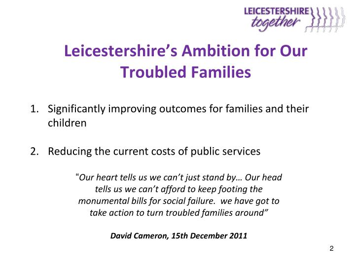 Leicestershire s ambition for our troubled families