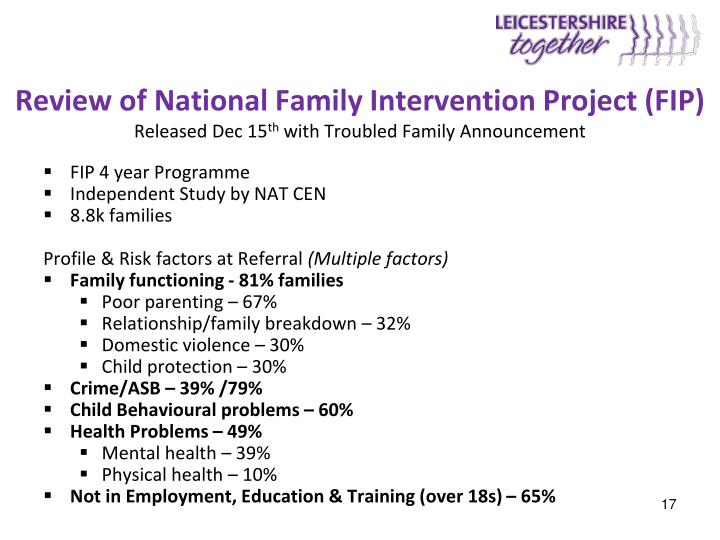Review of National Family Intervention Project (FIP)