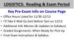 logistics reading exam period