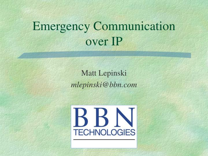 emergency communication over ip n.