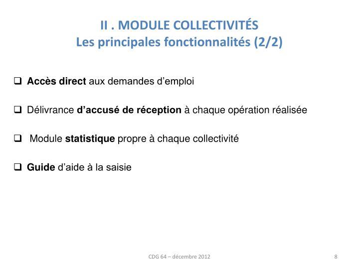 II . MODULE COLLECTIVITÉS