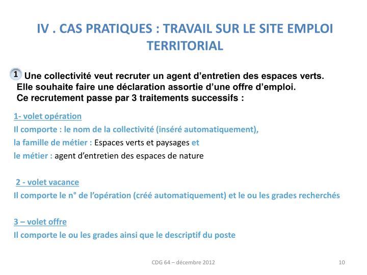 IV . CAS PRATIQUES : TRAVAIL SUR LE SITE EMPLOI TERRITORIAL