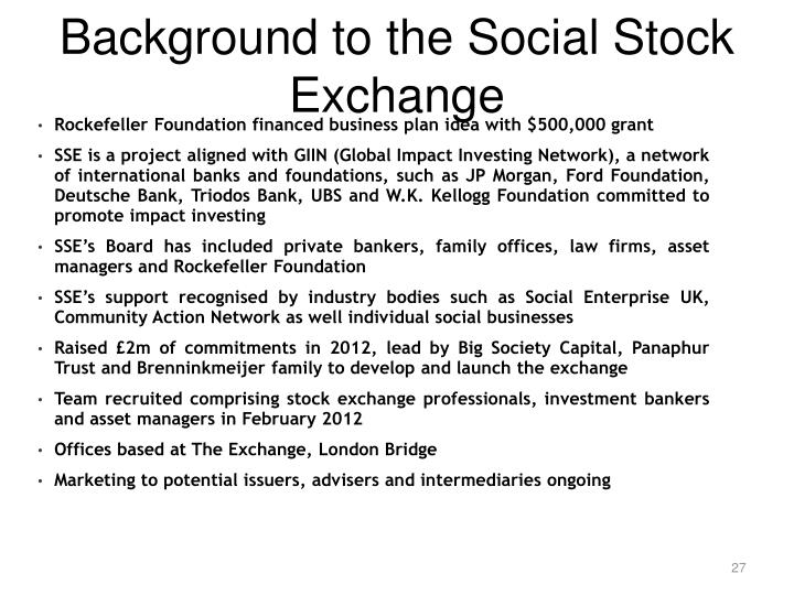 Background to the Social Stock Exchange