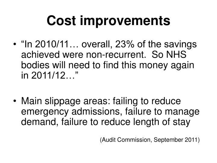 Cost improvements