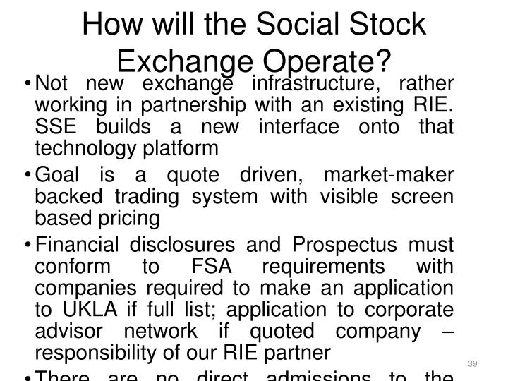 How will the Social Stock Exchange Operate?