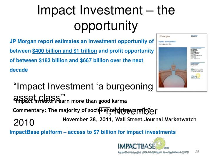 Impact Investment – the opportunity