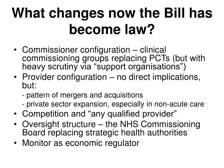 What changes now the Bill has become law?