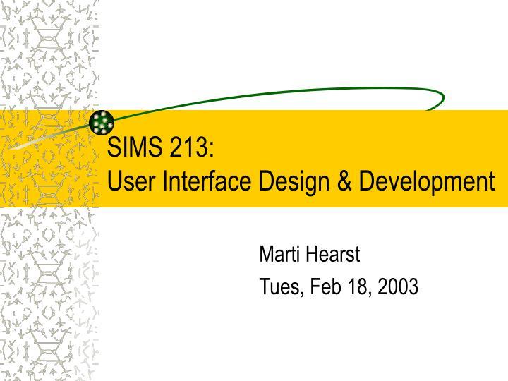 sims 213 user interface design development n.