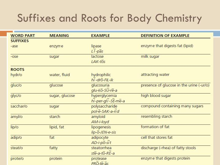 Suffixes and Roots for Body Chemistry