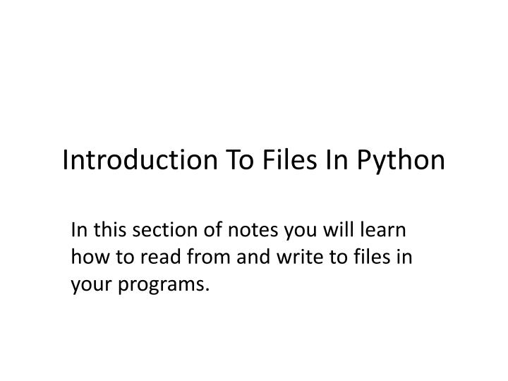 introduction to files in python n.