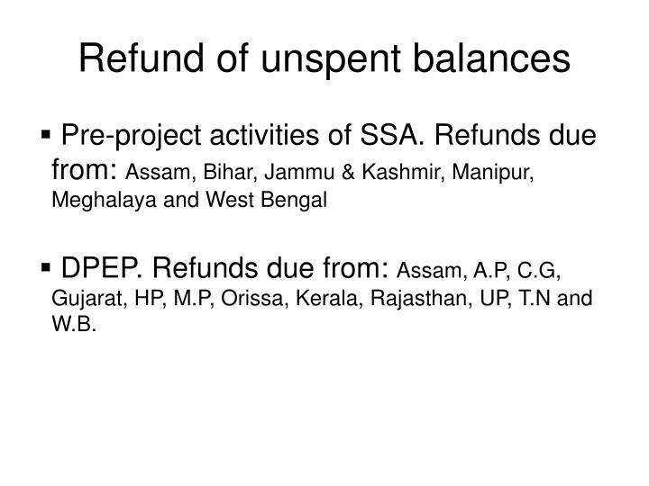 Refund of unspent balances