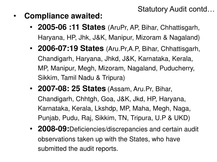 Statutory Audit contd…