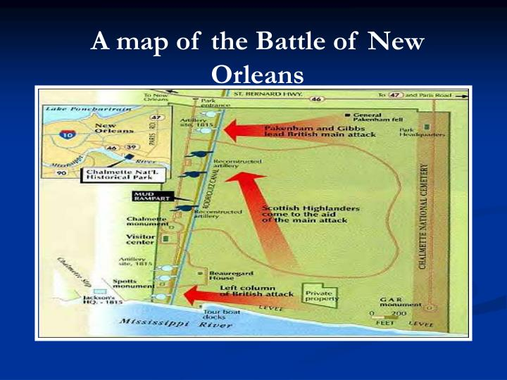 A map of the Battle of New Orleans
