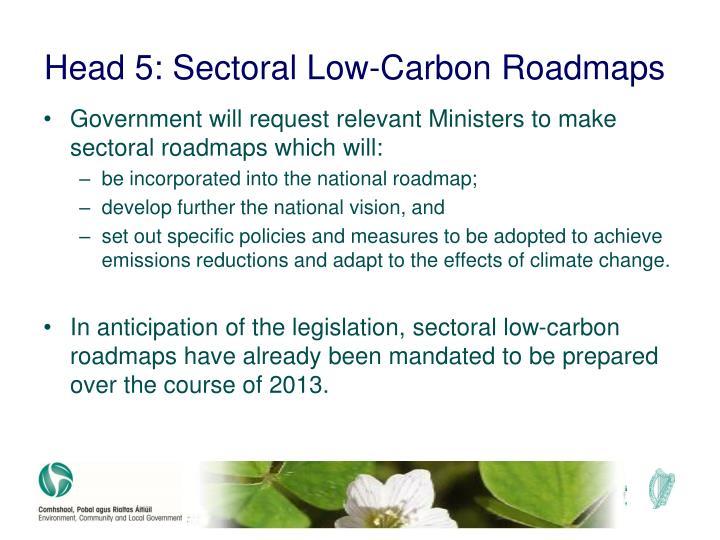 Head 5: Sectoral Low-Carbon Roadmaps