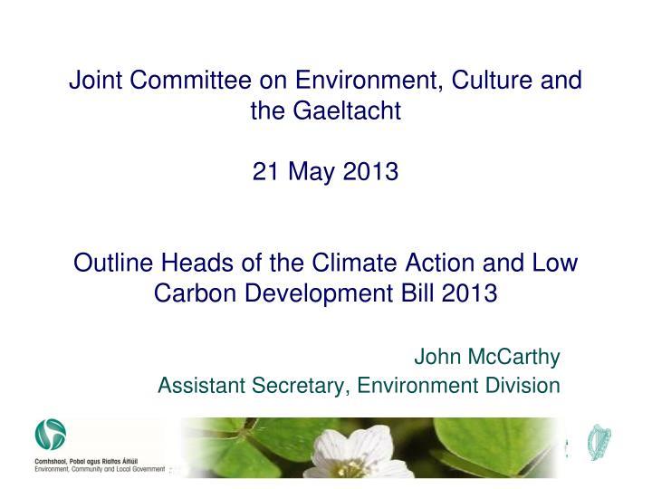 John mccarthy assistant secretary environment division