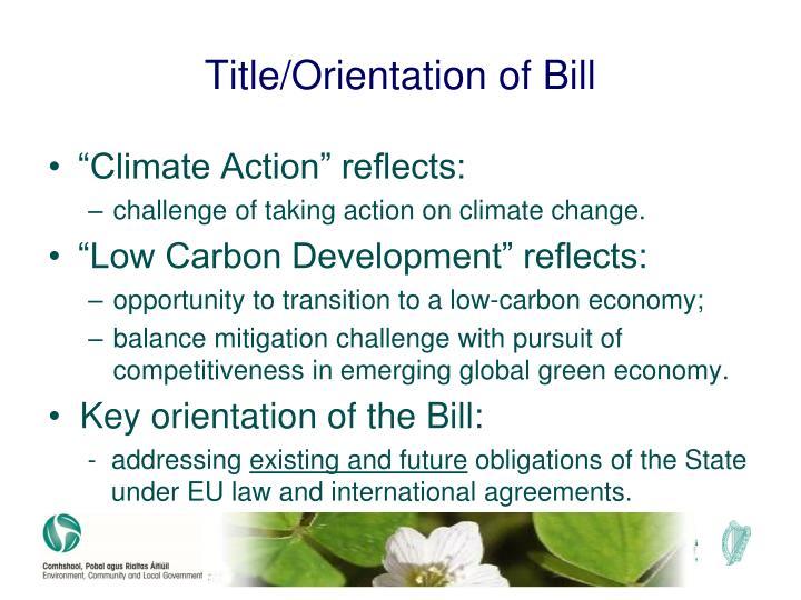 Title orientation of bill