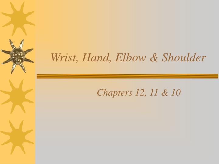 wrist hand elbow shoulder n.
