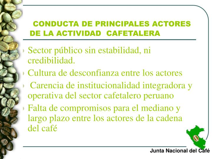 CONDUCTA DE PRINCIPALES ACTORES  DE LA ACTIVIDAD  CAFETALERA
