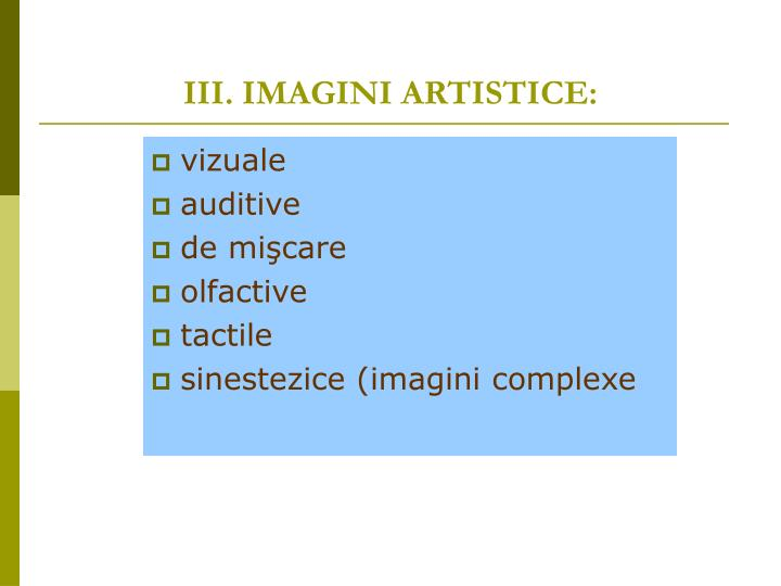 III. IMAGINI ARTISTICE: