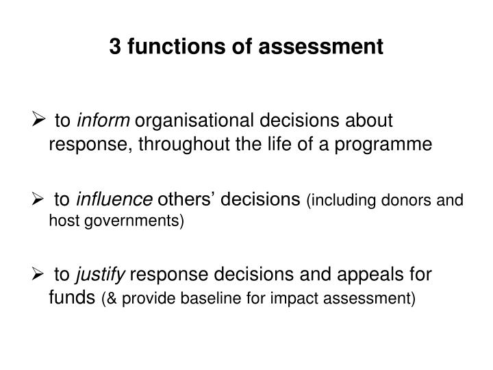 3 functions of assessment