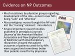evidence on np outcomes