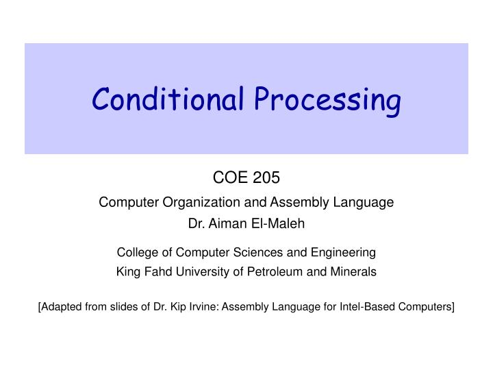 conditional processing n.