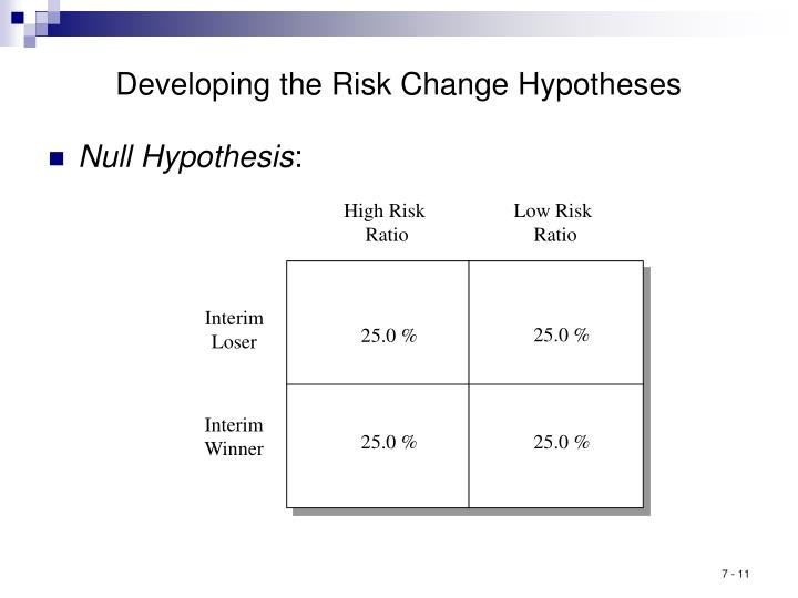 Developing the Risk Change Hypotheses