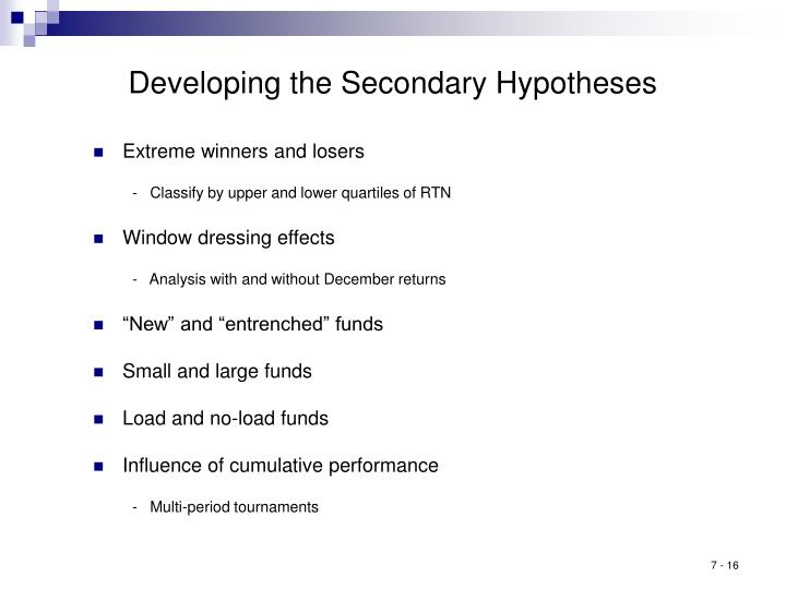 Developing the Secondary Hypotheses