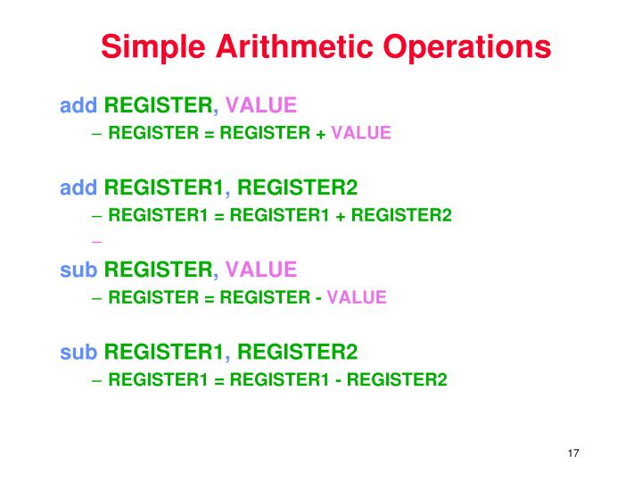 Simple Arithmetic Operations