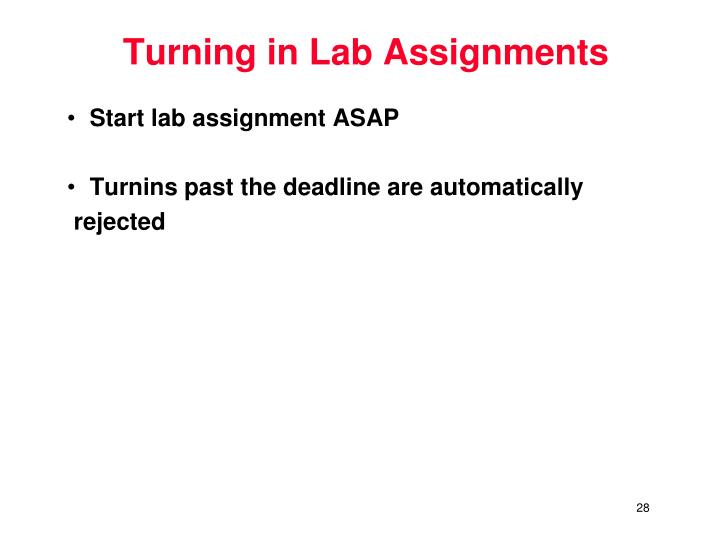 Turning in Lab Assignments