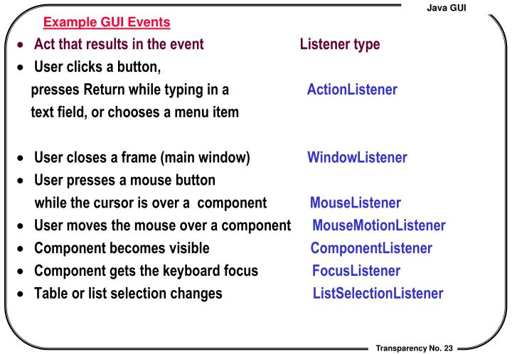 Example GUI Events