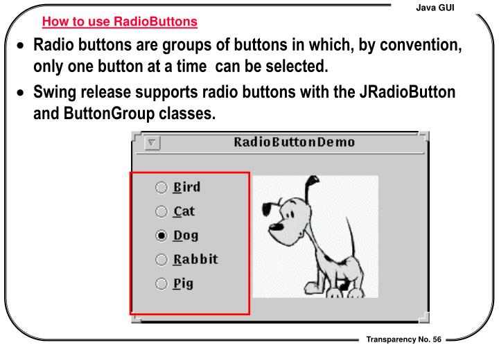 How to use RadioButtons