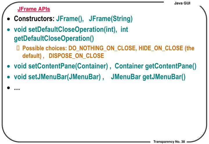 JFrame APIs