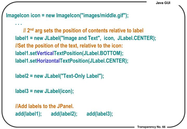 """ImageIcon icon = new ImageIcon(""""images/middle.gif"""");"""