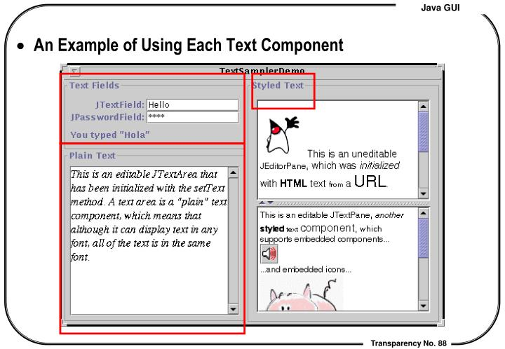 An Example of Using Each Text Component