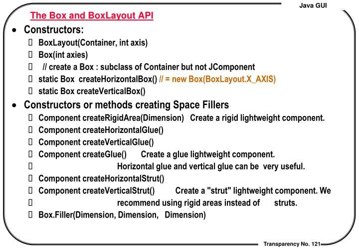 The Box and BoxLayout API