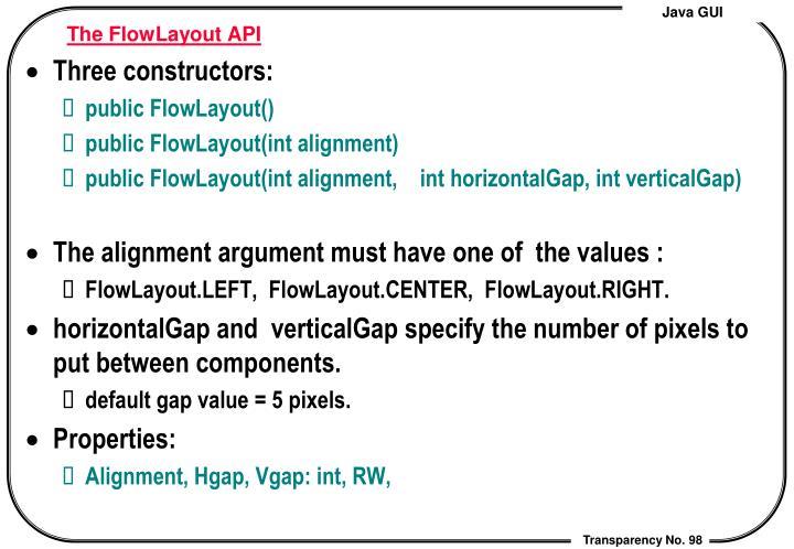 The FlowLayout API