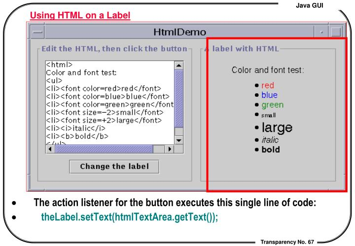 Using HTML on a Label