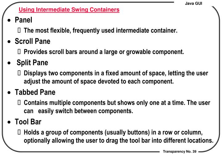Using Intermediate Swing Containers