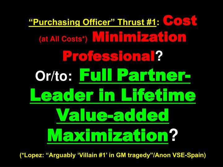 """Purchasing Officer"" Thrust #1"