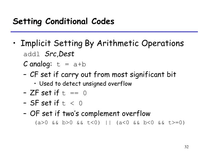 Setting Conditional Codes