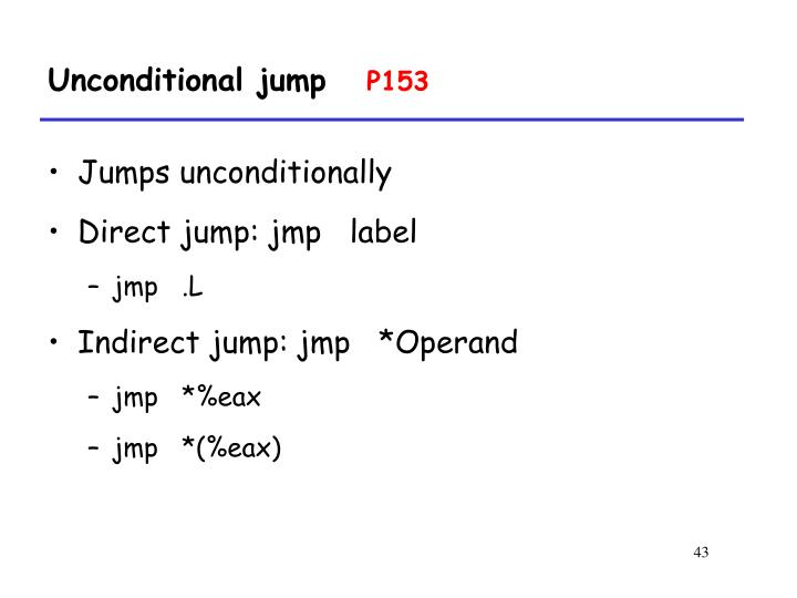 Unconditional jump