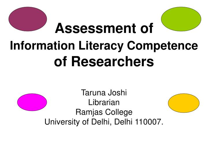 assessment of information literacy competence of researchers n.