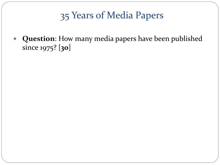 35 Years of Media Papers