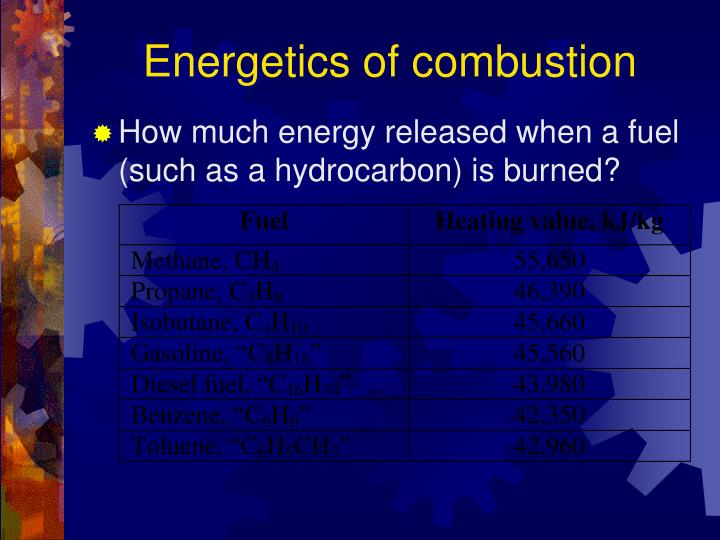Energetics of combustion